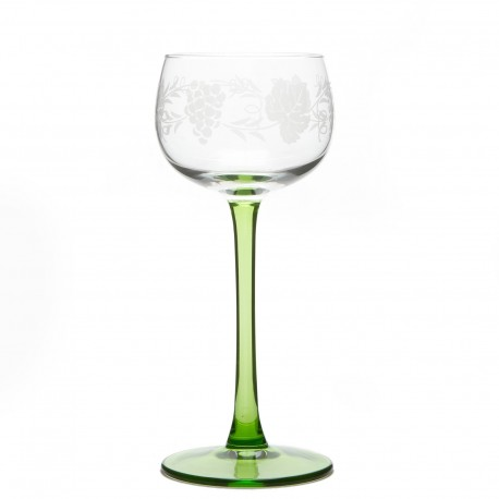 "6 Alsace's wine glasses ""GRAPES"" decor"
