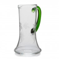 "Alsace Wine pitcher with ""THREE VINEYARDS"" decor"