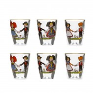 Box of 6 special Alsace's fruit brandy glasses (schnaps) with HANSI decor