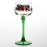 "6 traditional Alsace's wine glasses ""RHINE WINE"" with DANSE decor"