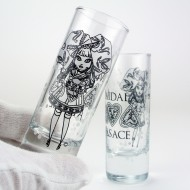 "6 Vodka glasses with ""MAIDALA"" decor - 6,5 cl"