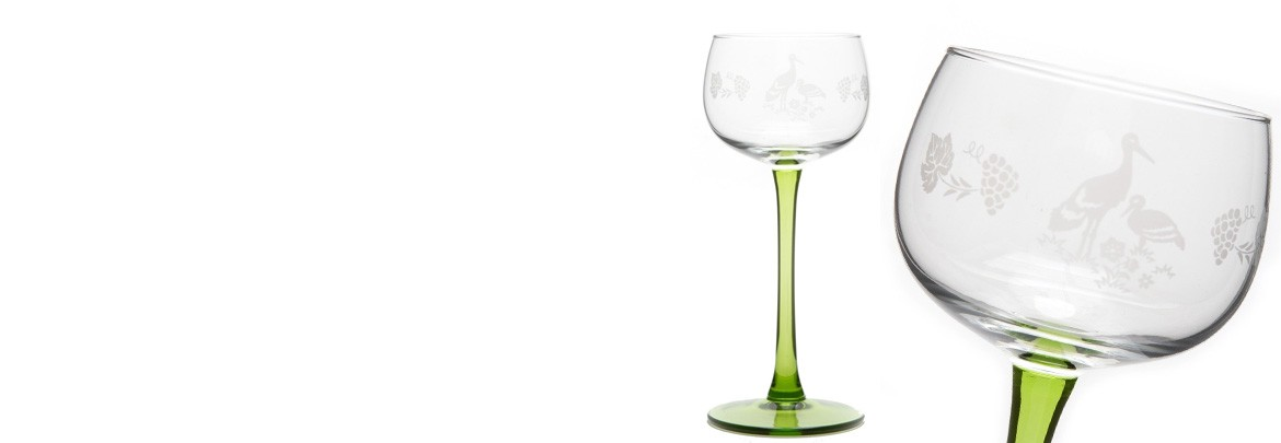 "6 Alsace's wine glasses ""STORK"" decor"