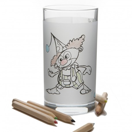 1 Glass with 3 colorable clowns - washable